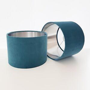 Abat-Jour-Bleu-Sarcelle-Velours-Argent-Brosse-Lightshade-Bleu-Metallique-Vert