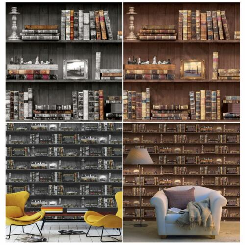 HOLDEN BOOKCASE WALLPAPER BLACK AND BROWN AVAILABLE FEATURE WALL DECOR ROOM NEW