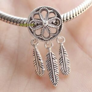 a23bb36c2 Image is loading S925-Sterling-Silver-Spiritual-Dream-Catcher-Dangle-Charm-