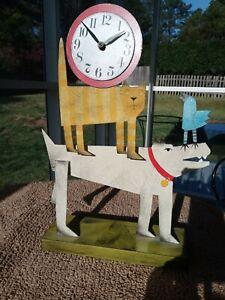 Metal Sculpture Art Acme Animal Dog Cat Bird Clock Artist Signed