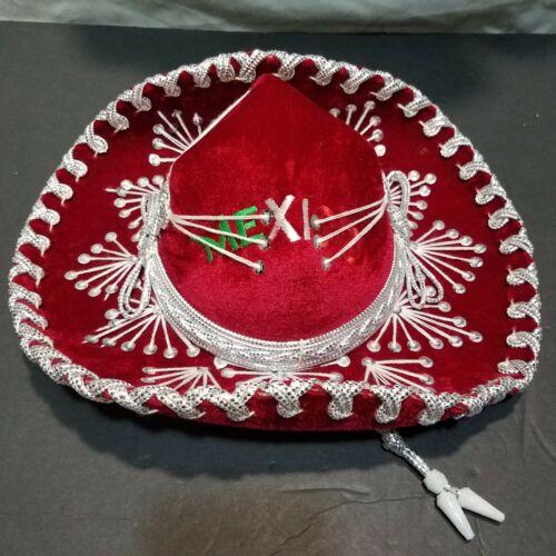 Salazar Yepez Red & Silver Mexico Sombrero Hat