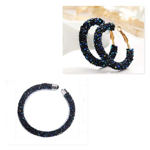 Crystal Bead Bracelet Hoop Earrings Austrian Crystals Shiny Bangle Cuff UK Stock