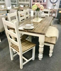 Chunky Farmhouse Table With 5 Ladder Chairs Bench New Rustic 6ft Ebay