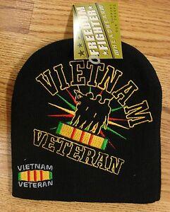 Vietnam Vet Veteran Black Embroidered Military Stocking Hat Cap Beanie Winter