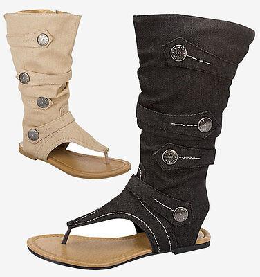 Ladies High Gladiator Flat Sandal Boot Shoes Black Beige NEW