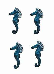 3040-Lot-4Pcs-Blue-Sea-Horse-Embroidery-Iron-On-Applique-Patch