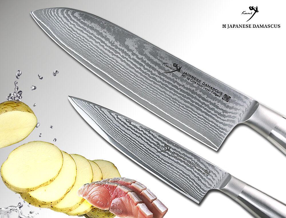 VG10 MultiLayer Japanese Damascus Santoku 6.7  + Small Chef's 4.7  Knife Set