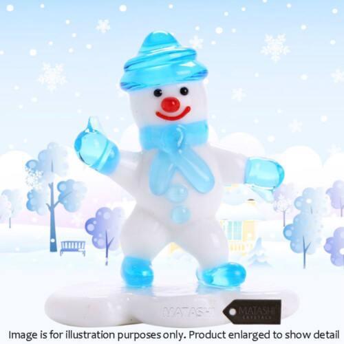 White /& Blue Matashi Murano Christmas Winter Decorative Glass Snowman Figurine