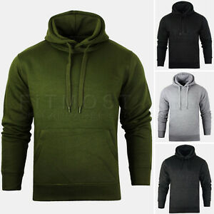 Mens Pullover Hoodie Hooded Sweatshirt Fleece Top Plain Hoody Jumper M-4XL