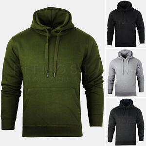Mens-Pullover-Hoodie-Hooded-Sweatshirt-Fleece-Top-Plain-Hoody-Jumper-S-5XL