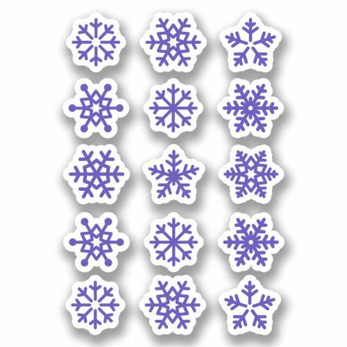 A4 Sheet 15 x Purple Snowflake Vinyl Stickers Christmas Window Decoration #9701