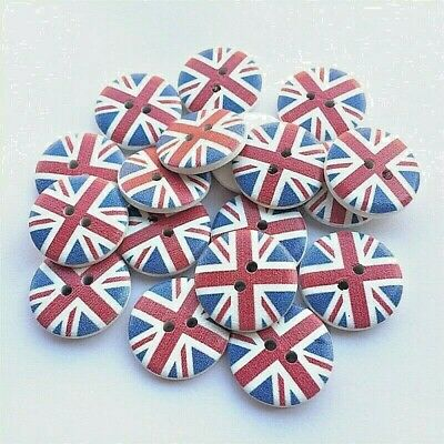 """20mm 1075 Craft Pkg of 50 Round UK FLAG 2-hole White Wood Buttons 13//16/"""""""