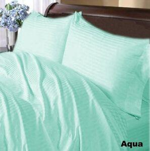 Special-Price-Bedding-Items-1000-TC-Egyptian-Cotton-Aqua-Blue-Striped-US-Size