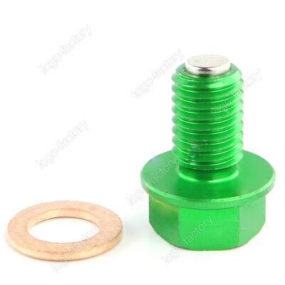 For Kawasaki KLX450R 2008-2009 Green Magnetic Oil Pan Drain Plug Bolt M10xP1.5