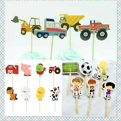 trucks football Cupcake Toppers Birthday Party picks 24,48 farm animal tractor