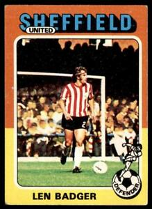 Len Badger Sheffield United No Topps Foootball 1975 Red//Grey 19 B1