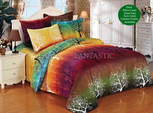 RAINBOW-TREE-Duvet-Doona-Quilt-Cover-Set-Queen-King-Size-Super-King-Size-Bed-New