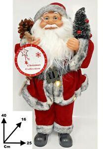 Babbo Natale 40 Cm.Dettagli Su Babbo Natale Pupazzo H 40 Cm Con Sacco E Luci Addobbi Decorazione Natalizia