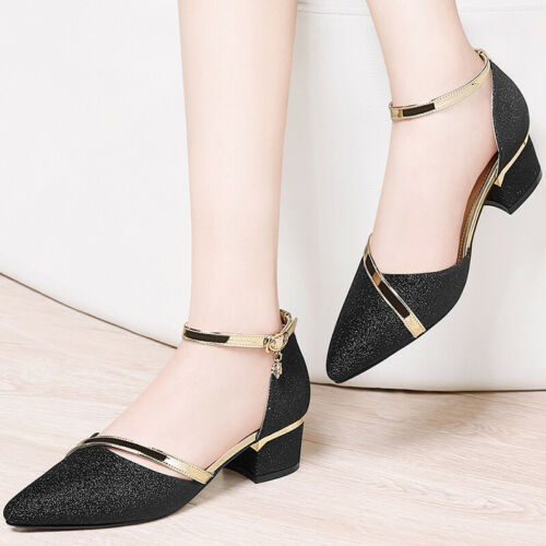 Girls Womens Glitter  Point Toe Block Heel Sandals Ankle Strap Shoes Casual
