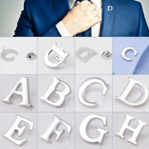 Men-Lapel-Brooches-Collar-Pin-26-Letters-Suit-Silver-Wedding-Party-Decor-Gift