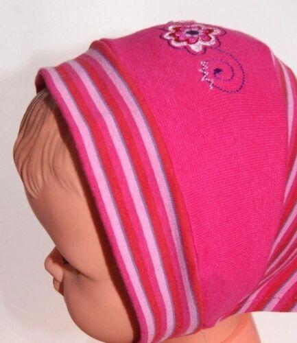 fichu TURBAN FOULARD BANDANA chapeau ROSE FLEUR BEBE FILLE NEUF 45 ou 47 cm