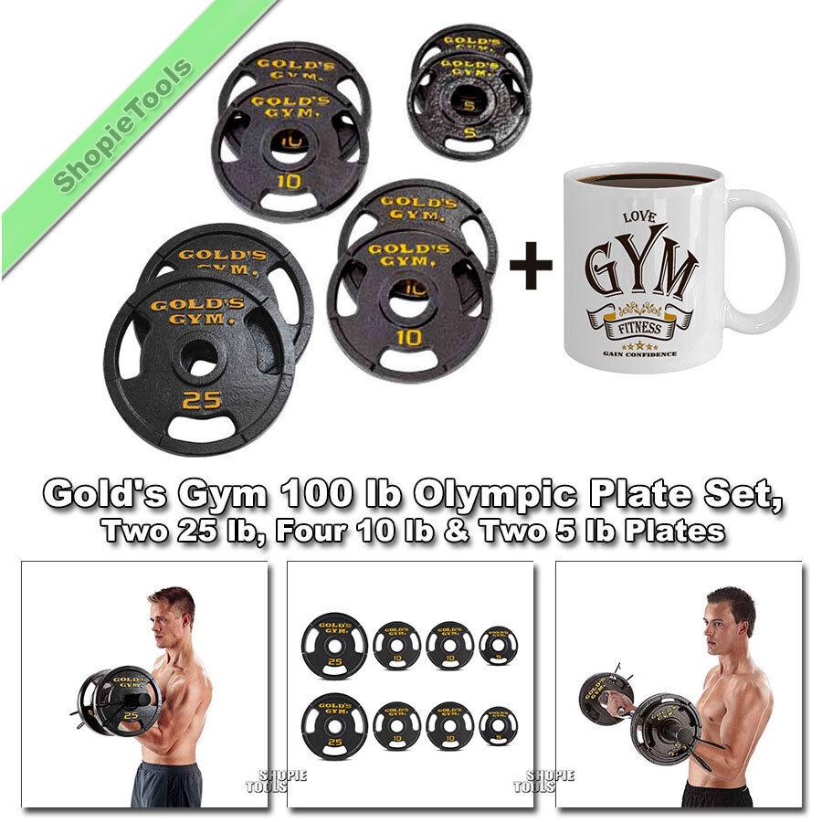 Conjunto de Peso Gimnasio de oro Olímpico 100 lb 2  agujeros de hierro fundido, 25,10 y 5 libras Placas & Taza