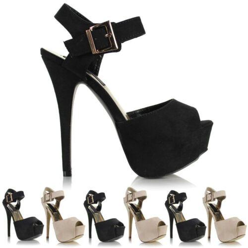 Mesdames Womens Suede Talons Hauts Stiletto Bout Ouvert Platform Buckle Sandals Shoes