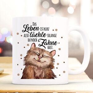 Tasse Becher Katze Spruch Lächle Solange Du Zähne Hast Teetasse Geschenk Ts907 SchöNe Lustre Geschenk- & Werbeartikel Büro & Schreibwaren