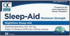 Nighttime-Sleep-Aid-Diphenhydramine-HCI-50-mg-Generic-Unsiom-32-Softgel-per-Box
