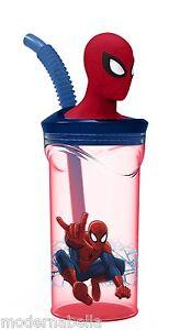 Spiderman Bicchiere Tazza con Figura in 3D con cannuccia, gioco bambini