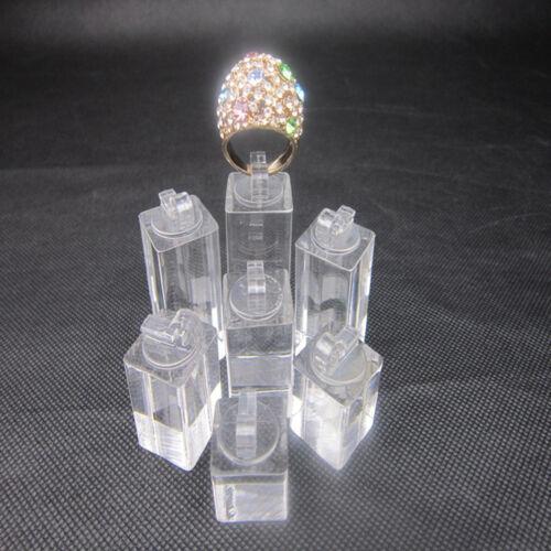 Set von 7 Clip Ring Acryl Display-Ständer Schmuck Halter Riser X