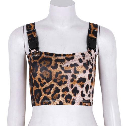 Donna SUMMER glitterate Leopard Tank Top Vest Camicetta senza maniche Crop Tops Camicia
