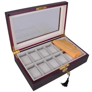 12-Mens-Wood-Watch-Display-Case-Glass-Top-Jewelry-Collection-Storage-Box