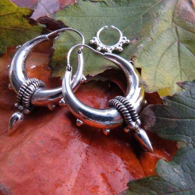 Fashion Jewelry Mandala 925 Silver Overlay Tribal Ethnic Brass Hoops Gypsy Moroccan Earrings