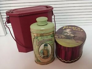 Decorator-Metal-Tins-Lot-of-3-Red-Lunch-Pail-Pears-Soap-Vintage-Avon-Powder