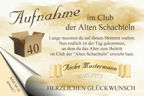 """Urkunde /""""Club der alten Schachteln/"""" 18 20 30 40 50 60 70 Geburtstag         8331"""