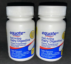 2 Equate Fast Acting Dairy Digestive Dietary Supplements, 60 Count Exp.4/22