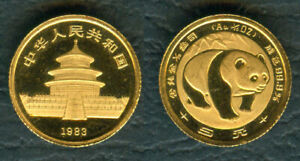 China-1983-1-20-oz-PANDA-5-Yuan-Original-Mint-GOLD-Coin-1st-Production-UNC
