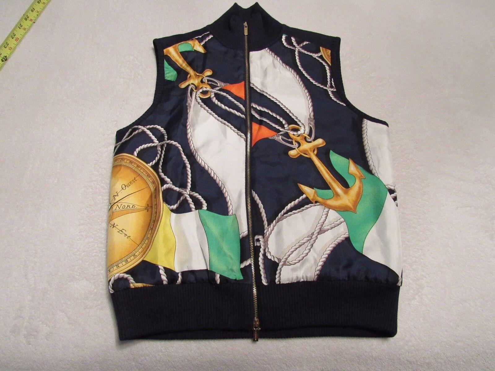 Ralph Lauren Womens Equestrian Western Vest Zip Up 100% Silk SIZE PETITE SMALL