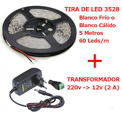 Kit Tira de Luz 5m 3528 SMD 300 LED Flexible + Transformador 2A Free Connector