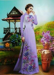 ab6aa049f Ao Dai Custom Made, Sea Mist CHIFFON 3D Dress, Silk Pant, Floral ...
