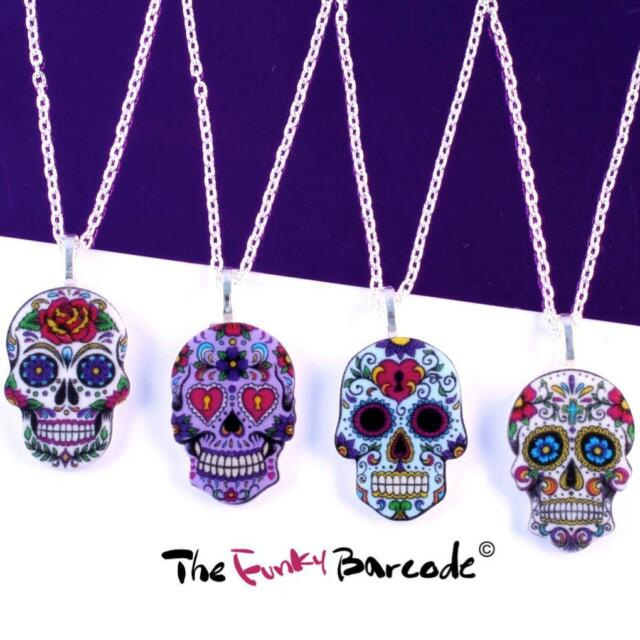 FUNKY SUGAR SKULL NECKLACE RETRO EMO PUNK ROCK KITSCH COOL GIFT SCARY HORROR