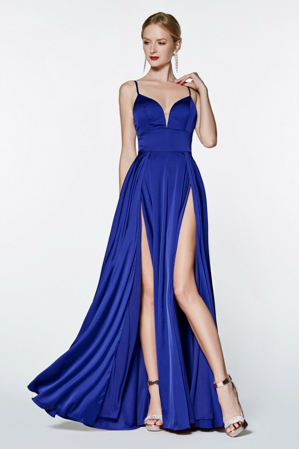 Cinderella Divine CJ526 CJ526 CJ526 Evening Dress Prom Dress A-line satin gown double slit befee8