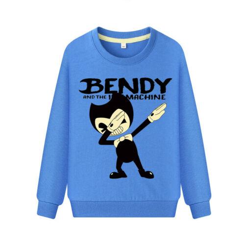 Kids Cartoon SweatShirt Pullovers Cotton Shirts Bendy Boys Girls Gift Age 4-12
