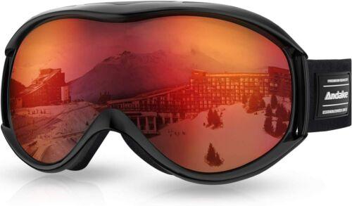 Andake Skibrille DualLinse UV-Schutz Anti-Fog Schneebrille Beschlag Damen Herren