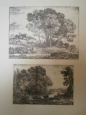 Planche gravure Claude Gellée dit le Lorrain : Le chévrier et le bouvier