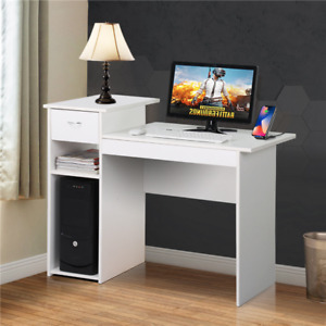 White Compact Computer Desk Laptop Table w/ Drawer Home Office Furniture Used