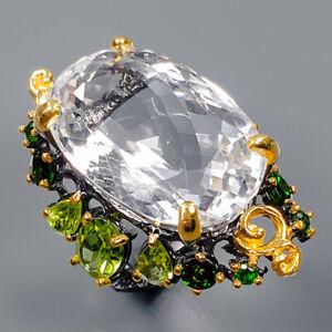 Quartz Ring Silver 925 Sterling 26x17 mm. Big IF Size 8.5 /R139146