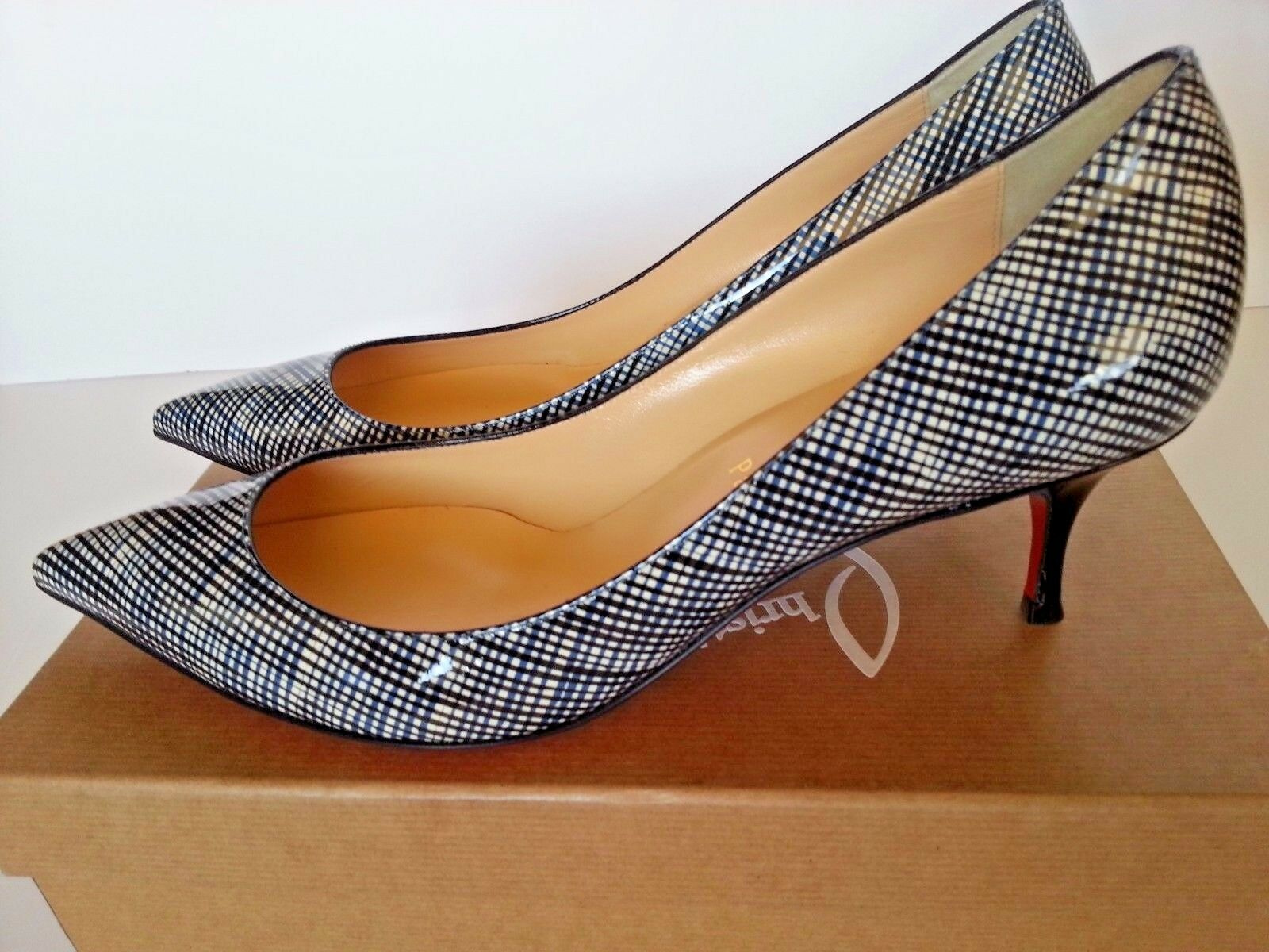 New New New Christian Louboutin  Pigalle Follies 55 Pump Low Heel shoes Navy Black  39.5 13f5d4