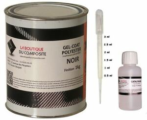1kg. de GEL COAT POLYESTER ISO. NOIR + catalyseur & pipette.